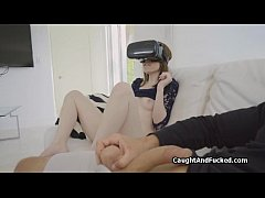 Teen caught masturbating on VR porn
