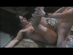 Adorable babe with natural tits sucks cock gets nailed hard from behind