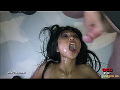 Busty Asian brunette swallowed our cum - German Goo Girls