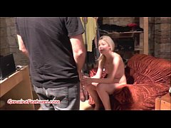 Sexy 18yo blondie shows her body at the first CASTING