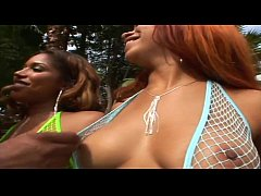 Two skinny black bitches fuck in fishnet by the pool