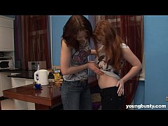 Chesty young lesbian Jess gets pussy toyed