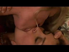 Lesbians Deep Throat Tongue Kissing in Lingerie