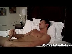 Sexy twink with big dick JD Phoenix smoking and jacking off