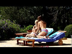 Lila and Mya from Sapphic Erotica go down on each other outdoors