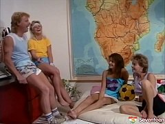 Hot retro orgy with 3 teen girls and 2 big dicks