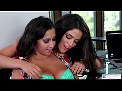 Lesbian threesome in the office