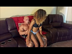muscly bald hunk enjoy skinny ebony teen