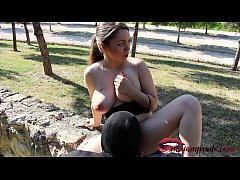 Fucking in public park with a busty young woman