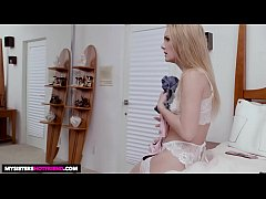 HD Naughty America Natalie Knight tries on lingerie before fucking friends bro