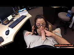 Amateur with glasses pounded by pawn man