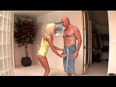 Bald lecherous old fogey drills charming babe Kaylee Hilton with golden hair