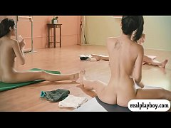 Amateur girls and the trainer doing yoga while all naked
