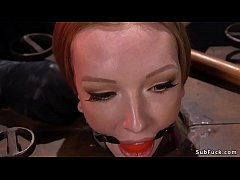 Redhead Katy Kiss with ballgag locked neck in wooden stock then with pussy on wooden peak with all her weight gets zappered till fucked in hogtie