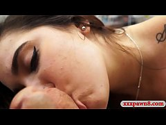 Beautiful amateur brunette college girl lap dance and pumped real hard by pawn keeper at the pawnshop