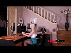 Hot blonde secretary Olivia Sin licked and fucked by boss on office table GP486