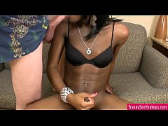 Black tranny takes facial
