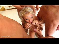 Beatrix in group blowbang facial cumshot scene on Cum For Cover
