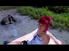 Cute Punky teen fucked in the ass in a cave