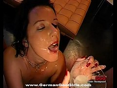 Dirty Brunette Bukkake slut collects semen in a bowl and drinks it
