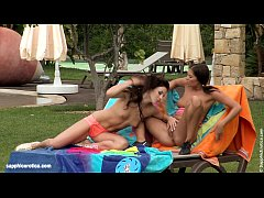 Hot lesbian brunettes go down on each other outdoors on Sapphic Erotica