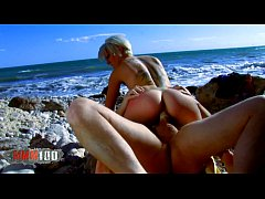French blonde slut fucking and squirting at the beach