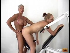 Muscular mature bitch hard strapon fuck her friend