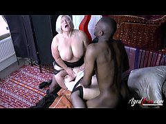 Hardcore interracial sex with two mature babes