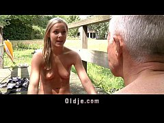 Teeny blonde fucks Old Guru