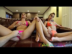 Paradise Gfs - Twins sucking cock and masturbating before sex