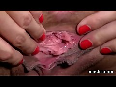 Nasty czech cutie stretches her spread vulva to the limit