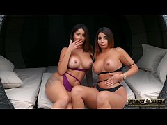 Sexy British Twins Priya and Preeti Strip Tease For Drinks