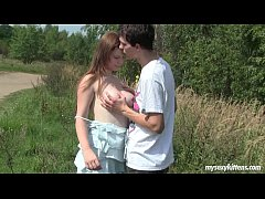 Busty teen Charlotte gets nailed outdoors