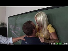 Sexy blonde was saved and punished by naughty teacher
