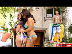 Busty woman of age has a threeway with a latina teen and a guy