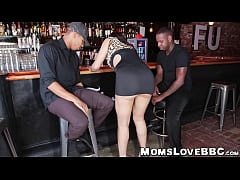 Bartending MILF with nice curves tag teamed by black studs