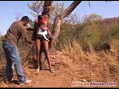 Big titted African bitch bonded in the wilderness