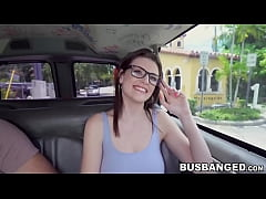 Innocent nerdy teen with glasses pussy pounded in the van