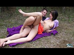 Angie Emerald cheated and convinced to fuck ugly stranger in the wood