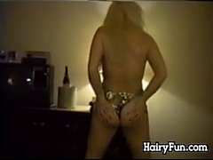 Hairy Blonde Doing A Striptease Classic