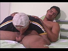 Gorgeous str8 Latino with huge cock BJ.