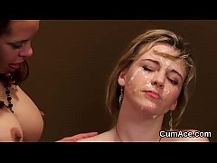 HD Peculiar stunner gets cumshot on her face sucking all the jizz