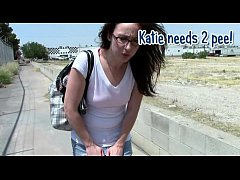 Katie female pee desperation & pants wetting