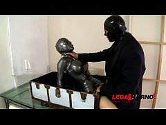 Latex Lucy worships big cock through fetish mask's mouth hole before fucked GP214