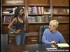 Monica foster strapon fucks a man