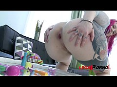 Tattoed alternative whore Proxy Paige shoots balls from her asshole   3 on 1