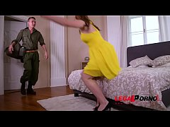 Horny soldier can't wait to lick, finger & fuck his busty wife Mona Sweet GP773