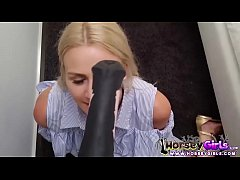 school girl loves horse dildo
