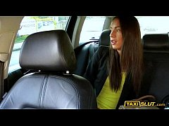 Hot amateur brunette lady Nataly fucked with the driver