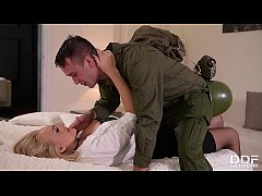 Soldier gets to fuck busty Milf Kayla Green's juicy hole over and over again